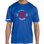"Trinona Triathlon: ""Circle"" Design Men's SS Tee - Tech - Royal"