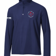 Trinona Triathlon: 'Left Chest Print' Men's 1/4 Zip Pullover - Tech - Navy