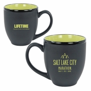 Salt Lake City Marathon Ceramic Mug - 16 oz. - Black / Rye Green Interior