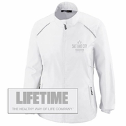 Salt Lake City Marathon 'Left Chest Embroidery' - Women's Full Zip Lightweight Runner's Jacket - White