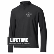 Salt Lake City Marathon 'Left Chest Logo' - Men's 1/4 Zip Tech Pullover - Black