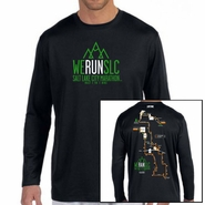 "Salt Lake City Marathon 2015 ""Map"" Men's LS Tee - Black Tech"