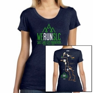 "Salt Lake City Marathon 2015 ""Map"" Women's SS Tee - Navy Tri-Blend"