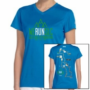 "Salt Lake City Marathon 2015 ""Map"" Women's SS Tee - Sapphire Tech V-Neck"