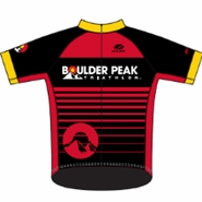Boulder Peak Tri: 'BP Logo' Men's SS FS Pro™ Cycling Jersey - Red / Black - by Voler®