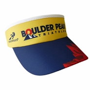 Boulder Peak Tri: 'BP Logo' Tech Visor - Yellow Front / Blue Brim - by Headsweats®