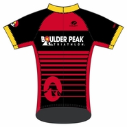 Boulder Peak Tri: 'BP Logo' Women's SS FS Pro™ Cycling Jersey - Red / Black - by Voler®