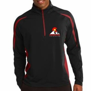 Boulder Peak Tri: 'Left Chest Print' Men's Tech Pullover 1/4 Zip - Black / Red - by Sport-Tek®