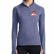 Boulder Peak Tri: 'Left Chest Print' Women's Thumbhole Tech Pullover 1/4 Zip - True Navy Heather - by Sport-Tek®