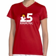 Boulder Peak Tri: 'Map' Women's SS Tech V-Neck Tee - Cherry Red - by New Balance®