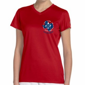 CapTex Triathlon: '2016 Course Map Design' Women's SS Tech Tee - Cherry Red - by New Balance® - Click to enlarge