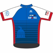 "CapTex Triathlon: 'Capitol Design' Men's SS ""FS Pro"" Cycling Full Zip Jersey - Blue / White Sleeves - by Voler®"