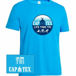 CapTex Triathlon: 'Circle Design' Men's SS Tech Tee - Safety Blue - Click to enlarge