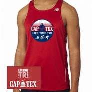 CapTex Triathlon: 'Circle Design' Men's Tank Tech Singlet - Cherry Red - by New Balance®