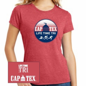 CapTex Triathlon: 'Circle Design' Women's SS Tri-Blend Tee - Red Frost - by District Made® - Click to enlarge