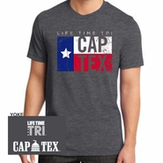 CapTex Triathlon: 'Flag Design' Men's SS Fashion Notch Tee - Charcoal Gravel - by District®