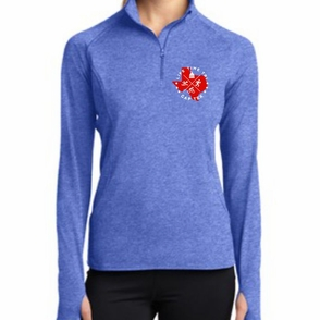 CapTex Triathlon: 'Left Chest Print Design' Women's Lightweight Technical 1/2 Zip Pullover - True Royal Heather - by Sport-Tek® - Click to enlarge