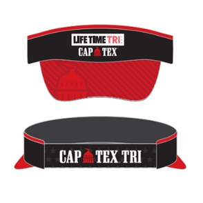 CapTex Triathlon: 'Logo Design' Tech Visor - Black w/ Red Brim - by Boco® - Click to enlarge