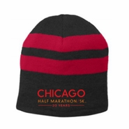Chicago Half Marathon & 5K: '20 Years' Fleece-lined Striped Beanie - Black / Red Stripes - by Port & Company�