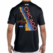 Chicago Half Marathon & 5K: '20 Years Map' Men's SS Tech Tee - Black