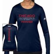 Chicago Half Marathon & 5K: '2016 Finisher' Women's LS Tech Tee - Navy