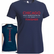 Chicago Half Marathon & 5K: '2016 Finisher' Women's SS Tech Tee - Navy