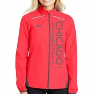Chicago Half Marathon & 5K: 'Left Chest Print Vertical 20' Women's Lightweight Reflective Full Zip Jacket - Hot Coral / Grey Steel - by Port Authority