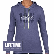 Chicago Half Marathon & 5K: 'Silhouette' Women's LS Lightweight Hoody Tee - Heather Blue - by Anvil�