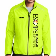 Escape To Miami Triathlon: 'Left Chest Print Vertical' Men's Lightweight Reflective Full Zip Jacket - Safety Yellow / Black - by Port Authority®