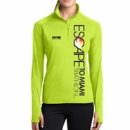 Escape To Miami Triathlon: 'Left Chest Print Vertical' Women's Tech Stretch Colorblock 1/2 Zip Pullover - Charge Green - by Sport-Tek®