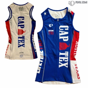 CapTex Tri: Event Women's Tri Singlet - Pearl Izumi 'Select' - Blue/White - Click to enlarge