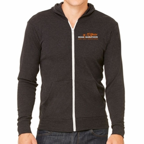Miami Marathon: '15 Yr LC Logo' Men's Full Zip Tri-Blend Hoody - Charcoal Black - by Canvas® - Click to enlarge
