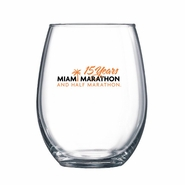 Miami Marathon: '15 Yr Logo' Stemless Wine Glass - Clear