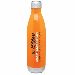 Miami Marathon: '15 Yr Logo' Thermal Stainless Steel Bottle - Orange - by h2go™ - Click to enlarge