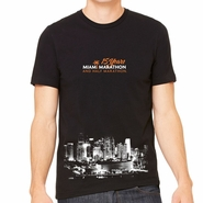 Miami Marathon: 'Aerial 15 Yr' Men's SS Fashion Tee - Black - by Bella�