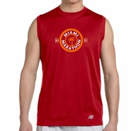 Miami Marathon: 'Circle Palm 15 Yr' Men's Sleeveless Tech Tank - Cherry Red - by New Balance�