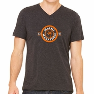 Miami Marathon: 'Circle Palm 15 Yr' Men's SS V-Neck Tri-Blend Tee - Charcoal Black - by Canvas�