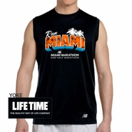 Miami Marathon & Half Marathon: 'Postcard' Men's Sleeveless Tech Tank - Black