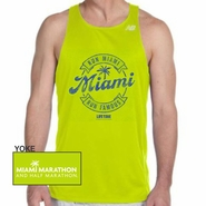 Miami Marathon & Half Marathon: 'Round' Men's Singlet Tech Tank - Safety Green
