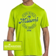 Miami Marathon & Half Marathon: 'Round' Men's SS Tech Tee - Safety Green