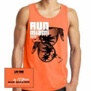 Miami Marathon: 'Sunglasses 15 Yr' Men's Fashion Tank - Neon Orange - by District�