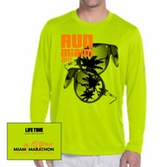 Miami Marathon: 'Sunglasses 15 Yr' Men's LS Tech Tee - Safety Green - by New Balance�