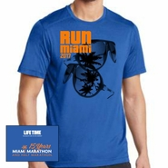 Miami Marathon: 'Sunglasses 15 Yr' Men's SS Tech Tee - Electric Blue - by OGIO�