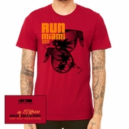 Miami Marathon: 'Sunglasses 15 Yr' Men's SS Tri-Blend Tee - Solid Red - by Canvas�