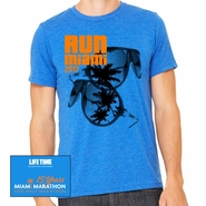 Miami Marathon: 'Sunglasses 15 Yr' Men's SS Tri-Blend Tee - True Royal - by Canvas�