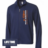 Miami Marathon: 'Vertical 15 Yr LC Logo' Men's Full Zip Tech Jacket - Navy