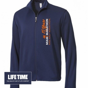 Miami Marathon: 'Vertical 15 Yr LC Logo' Men's Full Zip Tech Jacket - Navy - Click to enlarge