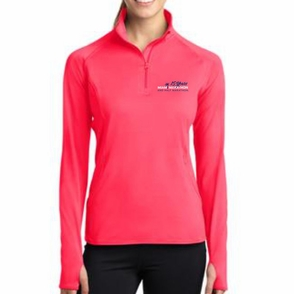 Miami Marathon: 'Vertical 15 Yr LC Logo' Women's 1/2 Zip Colorblock Stretch Pullover - Hot Coral - by Sport-Tek® - Click to enlarge