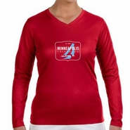 MPLS Tri: 'Map' Women's LS Tech V-Neck Tee - Cherry Red - by New Balance®