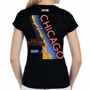 Chicago Half Marathon & 5K: '20 Years Map' Women's SS Expert Tech Tee - Black
